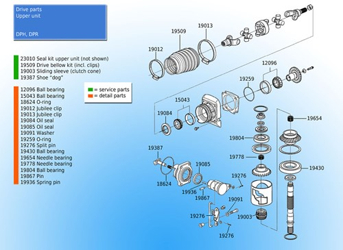 Oliekeerring bovenste eenheid voor Volvo Penta 3863085