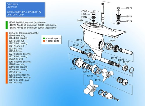 Oliekeerring onderste eenheid voor Volvo Penta 851407