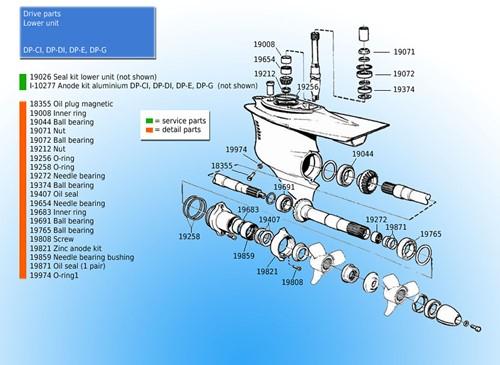 Schroef onderste eenheid voor Volvo Penta 966808