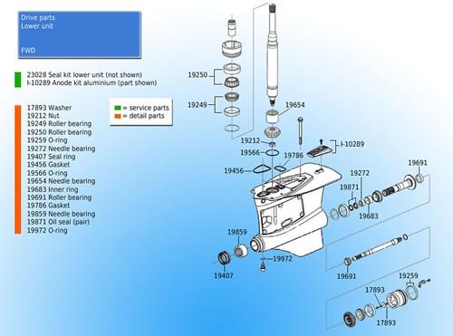 O-ring onderste eenheid voor Volvo Penta 955972